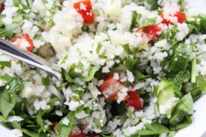 Grain-Free Tabbouleh with Tahini Dressing